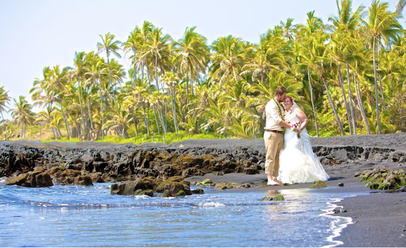 Big Island Punalu'u Black Sand Beach Wedding Ceremony